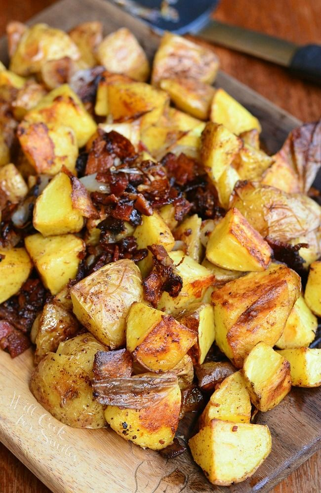 Brown Butter Roasted Potatoes with Bacon and Pearl Onions. The most amazing roasted potatoes you will ever try! from willcookforsmiles.com