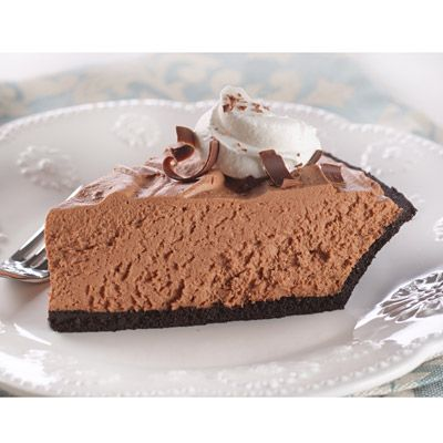 Chocolate Velvet Pie - YUM!!  You can use a chocolate crust or an oreo crust if you really want decadence!