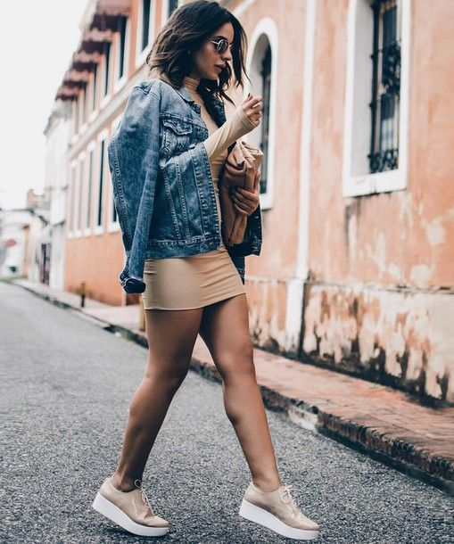 Dress: tumblr mini sexy sexy nude turtleneck jacket blue jacket denim jacket flatforms platform