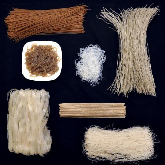 11 Gluten free Asian Noodles - Acorn noodles (dotori guksu), Bean threads or cellophane noodles, Buckwheat vermicelli (naeng myun), Harusame, Kelp noodles, Rice noodles, Shirataki; Japanese konnyaku noodles, Soba noodles, Sweet potato vermicelli (dang myun), Tapioca noodles, Tofu or soy bean curd noodles.