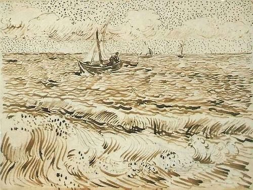 vincentvangogh-art:  A Fishing Boat at Sea, 1888 Vincent van Gogh