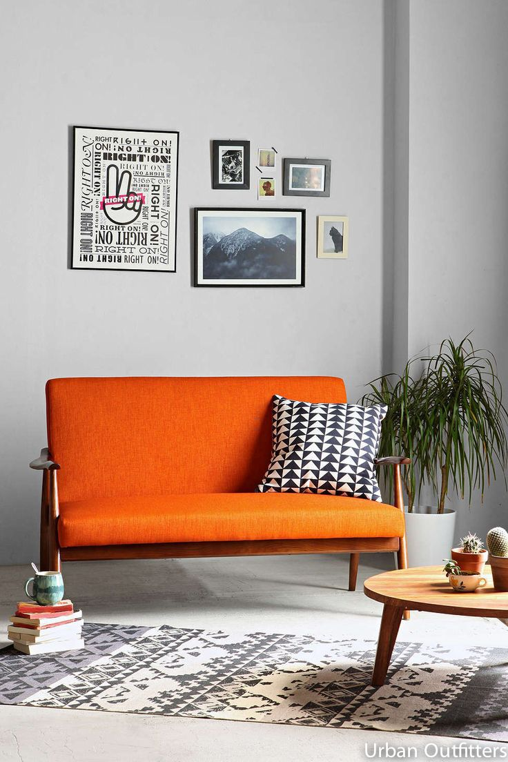 Sofa by Urban Outfitters More pics for inspiration on the website #sofa #orange #autumn #furniture #wood #docteurwood #interiordesign #urbanoutfitters