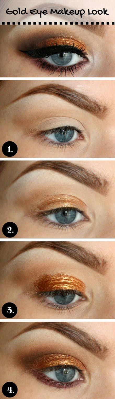 Starts with a good eye primer making sure to apply it all over your lid, followed by a base shadow. Blend a soft taupe color into the crease of your eye to create an appearance of a more pronounced, deeper crease. Smoothly apply your chosen gold eyeshadow. Build up the color with your finger.  With a pencil brush, apply a dark brown shadow in the outer corner and blend it into the crease. For your lower lash line choose red or purple shadow and blend it out. Finish the look with false lashes