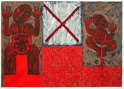 """""""Te Whenua, Te Whenua, Engari Kaore He Turangawaewae (Placenta, Land, but Nowhere to Stand)"""" by Robyn Kahukiwa    This painting speaks of the Mäori practice of burying the placenta from each newborn in a place which becomes their türangawaewae – a place to stand for ever. For many years, however, in hospitals managed by Europeans, placentas were burnt and Mäori mothers forbidden to carry out their traditional custom. The word whenua means both land and placenta"""