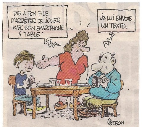 """Families in the modern age. """"Talk to your son, and stop playing with your smartphone at the table!"""" """"I sent him a text."""""""