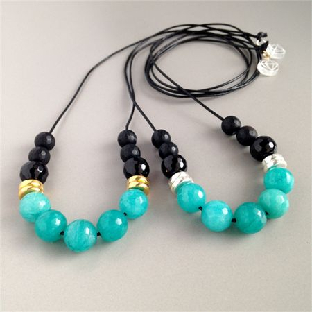 Turquoise Jade & Onyx Gemstone Necklace