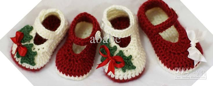 Wholesale - Crochet baby Christmas shoes red green white mary jane 0-12M 15pairs/lot cotton yarn custom