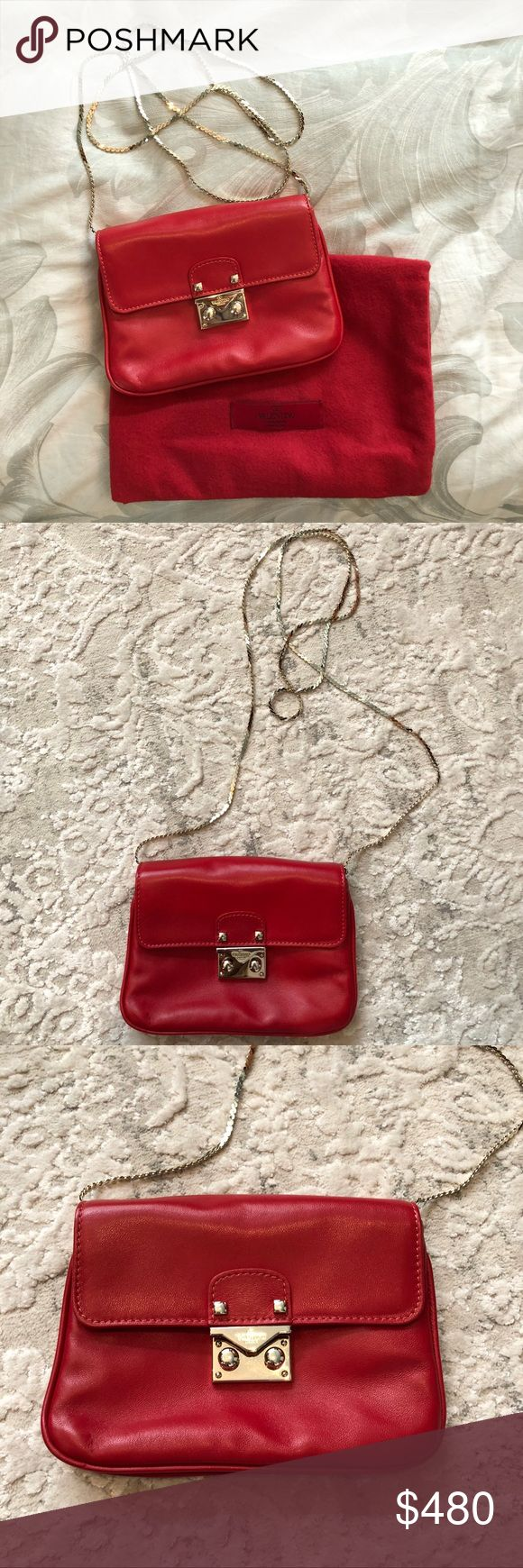 """AUTHENTIC NEW VALENTINO CROSSBODY BAG Brand new red leather crossbody bag. L 5"""" x W 7"""". Can fit a phone in it and makeup. Very convenient for going out at night. Valentino Bags Crossbody Bags"""