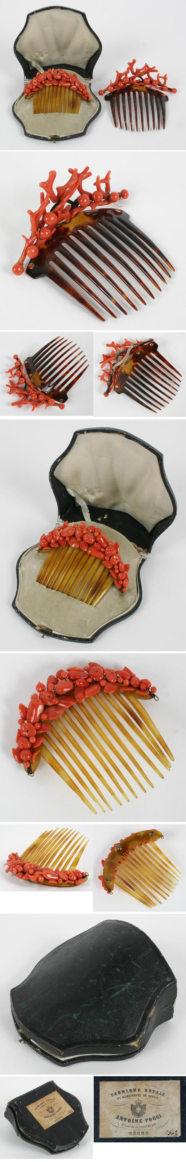 """Antique red coral and shell hair combs, one in original velvet lined box with French label. One with hinged mount, 4 1/2"""" across, one with fixed decoration, 4"""" across."""