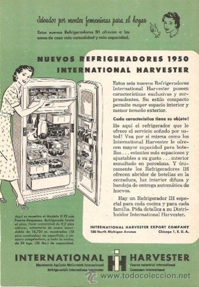 Publicidad international harvester refrigeradores anuncio - Electrodomesticos retro ...