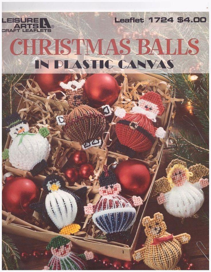 Christmas Balls In Plastic Canvas Ornaments Santa Angel Snowman Elf Penguin #LeisureArts