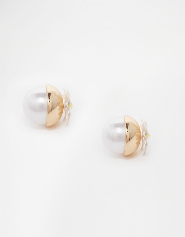 River Island Daisy And Pearl Ball Throu & Throu Stud Earrings