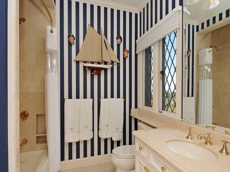 Black White Striped Nautical Bathroom Decorating Ideas