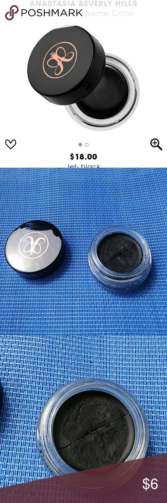 Anastasia Beverly Hills Waterproof Creme Color Anastasia Beverly Hills Waterproof Creme Color in 'Jet' Black. 95% full. There is a crack in the middle, please see pictures. Anastasia Beverly Hills Makeup Eyeliner