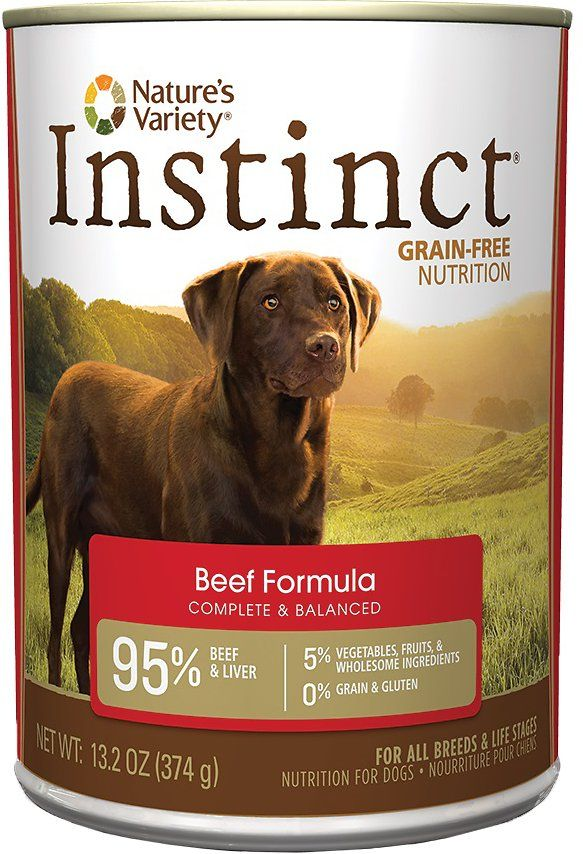 Nature's Variety Instinct Grain-Free Beef Formula Canned Dog Food 13.2z, 12