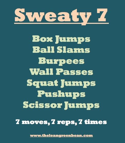 7 rounds, 7 reps: box jumps, ball slams, burpees, wall passes, squat jumps, push ups, scissor jumps