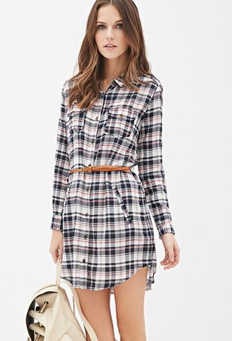 Belted Plaid Shirt Dress | Forever 21 - 2052287995