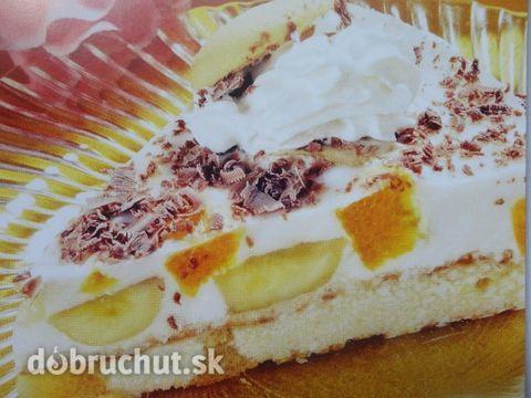 Nepečená banánová torta -  Na dno tortovej formy nasypeme rozdrvené piškóty do výšky asi 1cm.Na to poukladáme banány a pomaranč,ktoré sme...