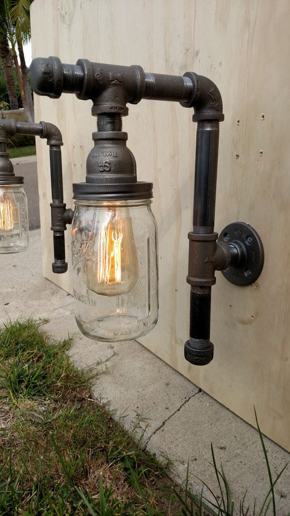 Pipe Fixture Lighting with rust-inhibitor by VintagePipeCreations