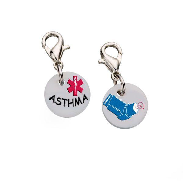 Asthma Bracelet Charm - Blue - Small