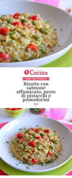 Risotto con #salmone affumicato, pesto di #pistacchi e #pomodorini della nostra utente Giovanna. Unisciti alla nostra Community ed invia le tue ricette!