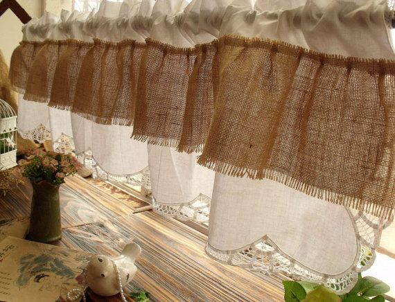 """72"""" RUFFLES-Shabby Chic French Country Rustic Burlap Window Valance White Cotton - HANDMADE RIBBON Lace on Etsy, $35.80"""