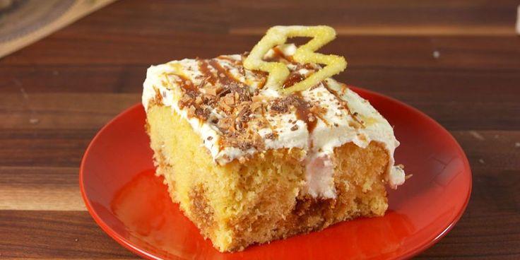 Butterbeer poke cake