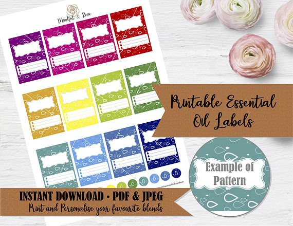 Printable Essential Oil Labels  10ml Rollerball Labels