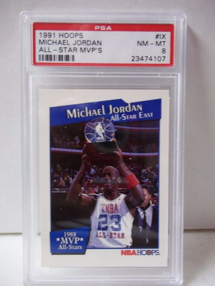 1991 Hoops Michael Jordan PSA Graded NM-MT 8 Basketball Card #9(IX) NBA MVP #ChicagoBulls