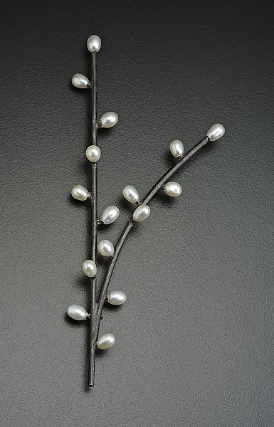 Branching Twig Brooch by Randi Chervitz: Silver & Pearl Brooch available at www.artfulhome.com
