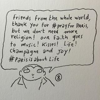 This cartoon was done by Charlie Hebdo cartoonist Joann Sfar on Friday night. | A Cartoonist Created A Beautiful Cartoon Asking People Not To Pray For...