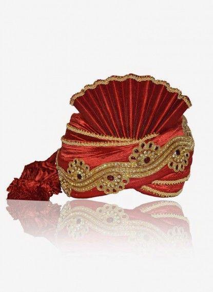 Remarkable Red Rawsilk Turban