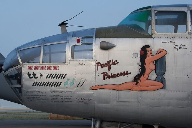 Learn about WWII aircraft art with ten vintage images of airplane noses on authentic World War II airplanes.