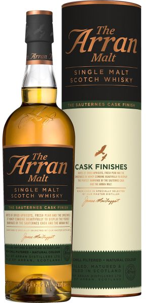 After this single malt form the Arran matured in ex-bourbon casks it finished in Sauternes casks. These casks that previously held Bordeaux sweet wine give a honeyed sweetness to the isle of Arran's only single malt distillery. The Cask finish range has recently been added to the core range of Arran. #arran