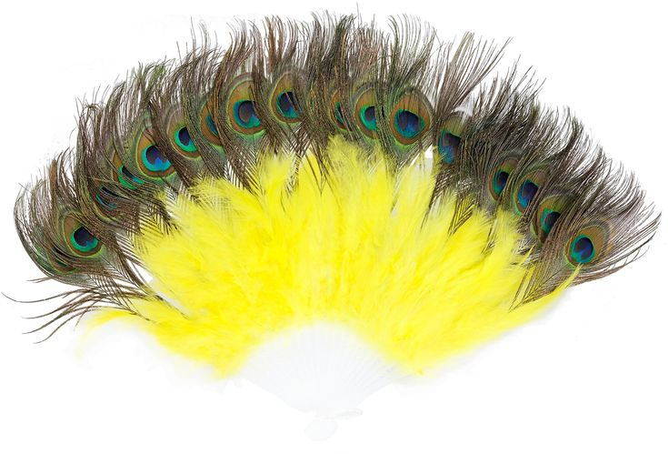 Vintage 1920s Marabou Peacock Feather Handheld Folding Fan Flapper Accessories Dancing Party Halloween Décor