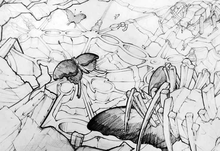 나비, 나무젖가락, 방사형 패턴2