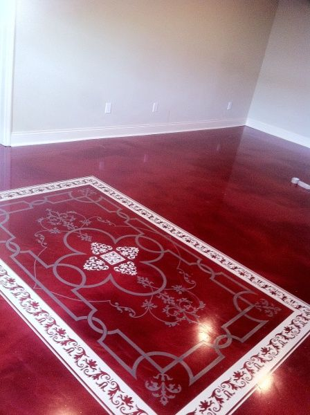 Custom Rug On Mettalic Epoxy Floor Foxcrete Marvelous