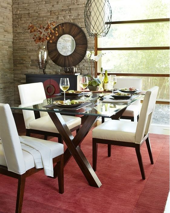 Pier 1 Bennet Dining Table and Bal Harbor Chairs. Glass Top ...