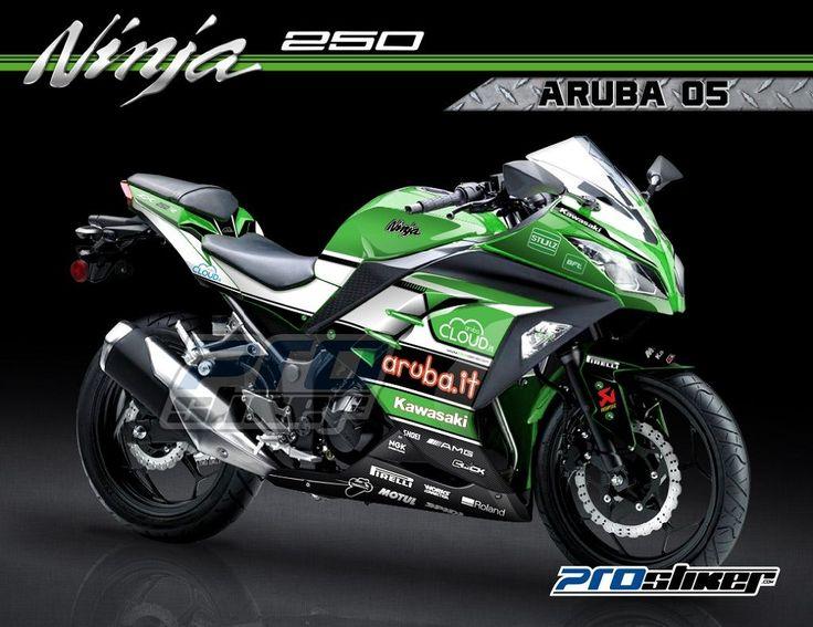 Striping kawasaki ninja 250 fi warna hijau motif super bike aruba racing 05 replica prostiker