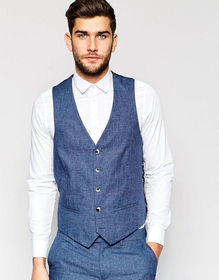 Linen blue vest for the groom