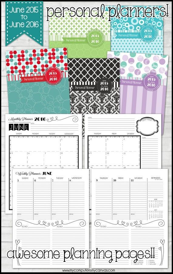 awesome personal planner printable  runs june 2015 to june 2016  monthly calendars  two page