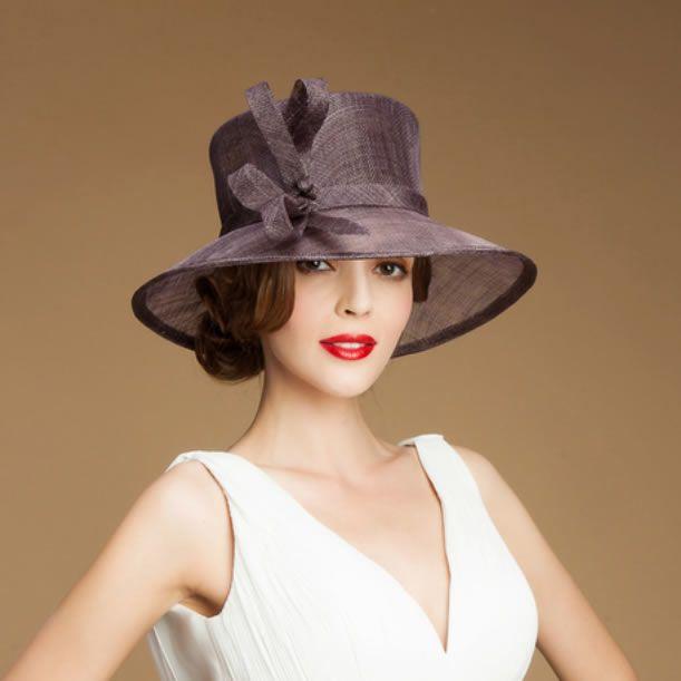 Purple Linen Summer Fashion Dress Derby Sun Hat Shops for Women SKU-158556
