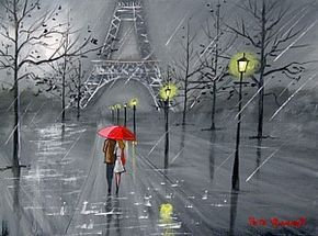 ... PARIS IN THE RAIN ORIGINAL CANVAS EIFFEL TOWER RED UMBRELLA NEW   eBay