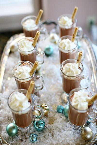 A cute idea instead of the traditional cocktail hour, perfect for warming up guests at a winter wedding.