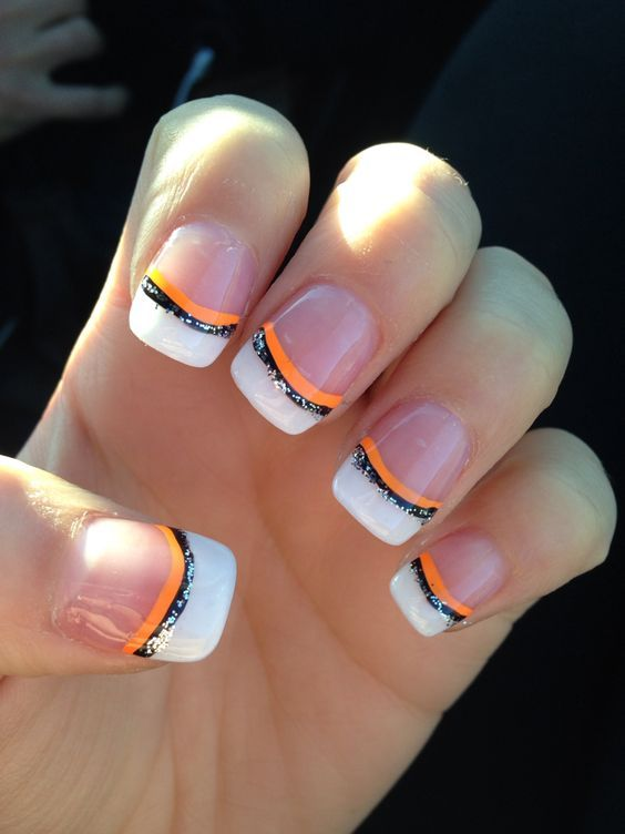 Orange Black and Glitter French Tips | DIY Halloween Nail Designs Ideas