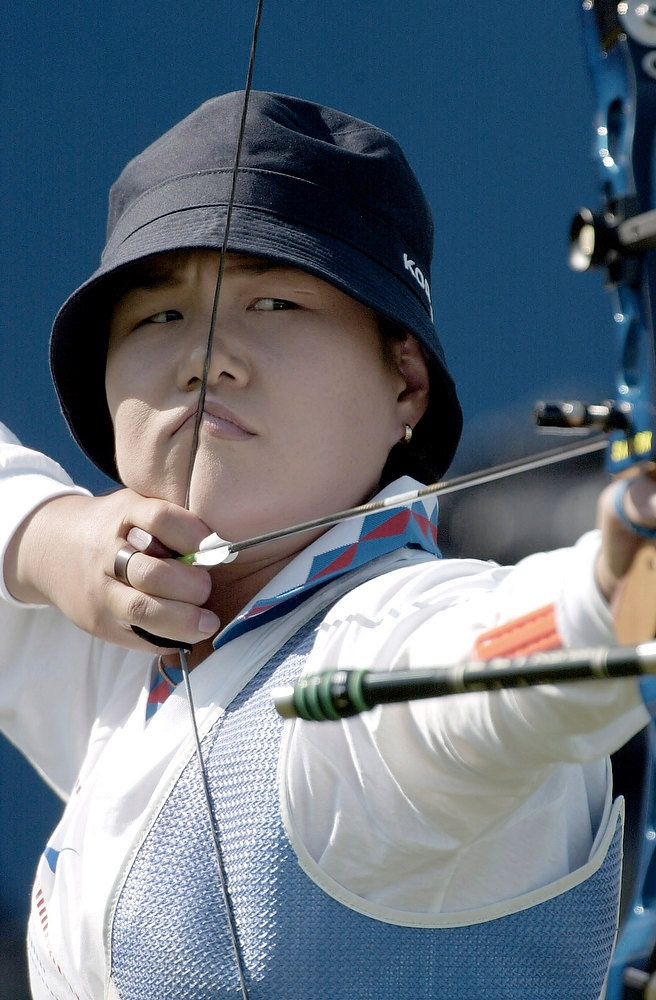 Soo-Nyung Kim of Korea in action during, the final of the Women's Archery Team event at the Sydney 2000 Olympic Games, held at Arhery Park in Sydney, Australia. Photo Robert Cianflone/ALLSPORT