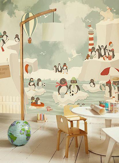Little Hands Wallpaper Mural - Penguins by Little Hands , via Behance