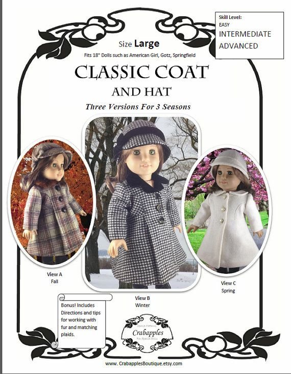 American Girl PDF Pattern for 18 inch doll by CrabapplesBoutique, $12.00