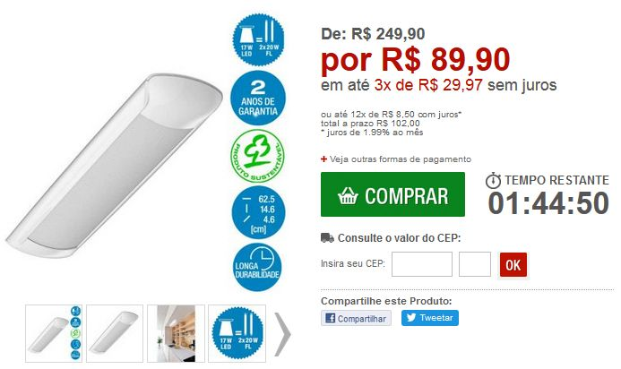 Luminária de Led Osram Teto Curta Aplikled Bivolt Luz Branca 17W 5000K << R$ 8990 em 3 vezes >>