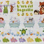 Ponto cruz gráficos Vejam que fofura esse lindos gráficos de Ponto Cruz Banho! Lindos para bordar em toalhas de banho ou em fraldas para bebês...
